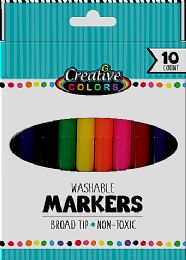 48 Units of 10 Ct Washable Broad Tip Markers - Markers and Highlighters