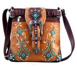 5 Units of Western Sling Purse with Buckle Tan - Shoulder Bags & Messenger Bags