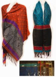 24 Units of Large Pashmina Sectional with Paisley Pattern Scarves - Womens Fashion Scarves