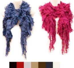 36 Units of Knitted Solid Color Scarves With Fur Like Fringes - Womens Fashion Scarves