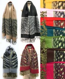 36 Units of Large Pashmina Animal Leopard Print with Fringes Assort - Winter Pashminas and Ponchos