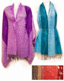 24 Units of Large Pashmina with Leopard Pattern Assorted - Winter Pashminas and Ponchos