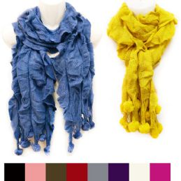 36 Units of Knitted Solid Color Ruffle Scarves With Ball Fringes - Winter Pashminas and Ponchos