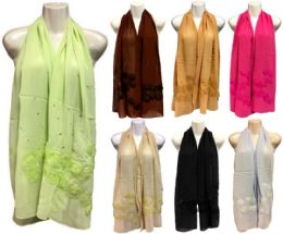 36 Units of Silk Scarves Scarf With Lace Flower And Glitter - Womens Fashion Scarves