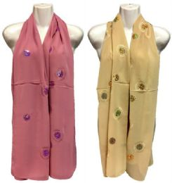 36 Units of Silk Scarves Scarf with Circular Glitter Design - Womens Fashion Scarves