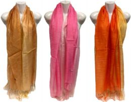 36 Units of Two Tone Scarf Scarves with Fringes Assorted Colors - Womens Fashion Scarves