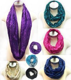 36 Units of Light Infinity Circle Scarves Shiny Assorted Colors - Womens Fashion Scarves