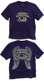 24 Units of Purple Tshirts with American Angel Forever Biker Prints - Mens T-Shirts