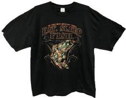 24 Units of Black T Shirt Eat Sleep Fish Assorted Plus Sizes - Mens T-Shirts