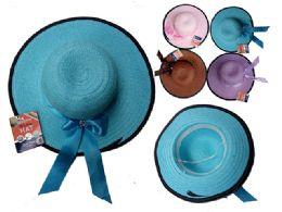144 Units of Women's Hat W/ Ribbon + Gem - Sun Hats