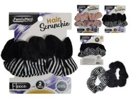 288 Units of Hair Ties 2pc Scrunchie Soft - PonyTail Holders