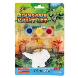 36 Units of Dinosaur Paint Set - 3 Piece Set - Paint, Brushes & Finger Paint