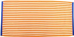 12 Units of Ultimate Luxurious Velour Beach Towel In Orange With Thin Cabana Stripe - Beach Towels