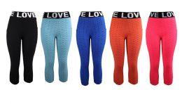 96 Units of Womens Bubble Capri With Love Waist - Womens Leggings