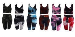 36 Units of Tie Dye Color Bubble Set With Half Top - Womens Active Wear