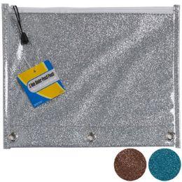 36 Units of Pencil Pouch 3 Hole Binder Plastic Glitter 3asst Colors - Office Supplies