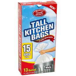 24 Units of Trash Bags 15ct - 13 Gallon Tall W/ties White Home Select - Garbage & Storage Bags
