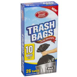 24 Units of Trash Bags 10ct - 26 Gallon W/ties Black Home Select - Garbage & Storage Bags