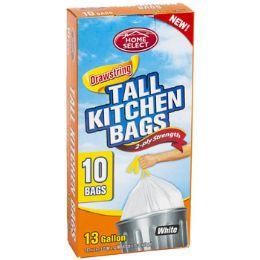 24 Units of Trash Bags 10ct - 13 Gallon Tall Kitchen Drawstring White - Garbage & Storage Bags