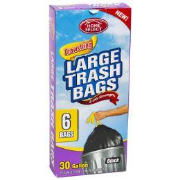 24 Units of Trash Bags 6ct - 30 Gallon Large Drawstring Black Home Select - Garbage & Storage Bags