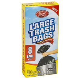 24 Units of Trash Bags 8ct - 30 Gallon Large W/ties Black Home Select - Garbage & Storage Bags
