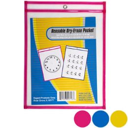 36 Units of Dry Erase Pocket Reusable 3asst Colors 13.66 X 10.28in/paper - Erasers