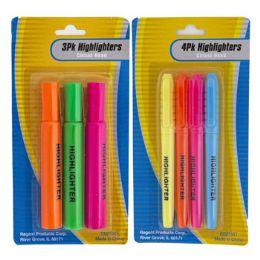 36 Units of Highlighter 3pk/4pk Multicolor Stationary Blister Card - Highlighter