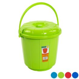 48 Units of Bucket With Lid & Handle 3qt 7.25d X 7.5h 4 Colors In Pdq - Buckets & Basins