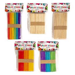 24 Units of Craft Sticks Wood 80pc Reg/40pc Large Natural/multicolor 24pcpdq - Craft Wood Sticks and Dowels