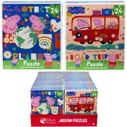 24 Units of Puzzle 24pc Peppa Pig 2 Titles In Pdq Size 10.3x9.1 - Puzzles