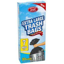 24 Units of Trash Bags 7ct - 33 Gallon Xl W/ties Black Home Select - Garbage & Storage Bags