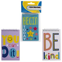 48 Units of Memo Book 3pk 60sht Motivational Kids Designs Top Bound Spiral - Notebooks
