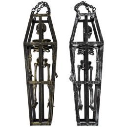 12 Units of Skeleton In Barred Coffin 16.5in Hanging 2ast Gld/slv Hlwn/header - Party Supplies