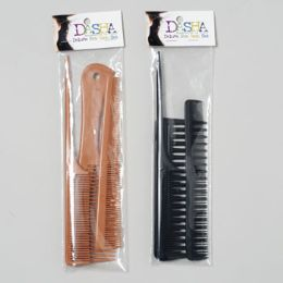 72 Units of Comb Set 3pc Professional 3 Different Styles 2 Colors - Hair Brushes & Combs