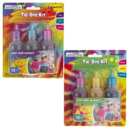 24 Units of TiE-Dye Kit 10pc Set Includes 3-Dyes/5-Rubberbands/2-Gloves - Craft Kits