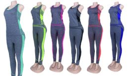 60 Units of Yoga Top and Legging Set - Womens Active Wear