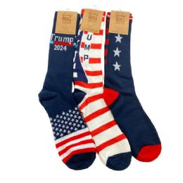 48 Units of Trump 2024 Crew Socks 3 Styles 10-13 - Mens Crew Socks