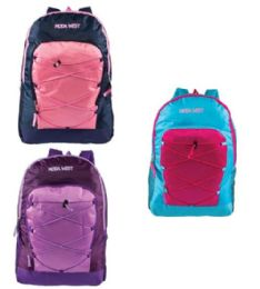 """24 Units of 19"""" Bungee Backpacks with Side Mesh Water Bottle Pockets in 3 Assorted Colors - Backpacks 18"""" or Larger"""