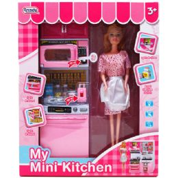 """6 Units of 12.25"""" B/O KITCHEN MICROWAVE W/ 11"""" DOLL IN WINDOW BOX - Girls Toys"""