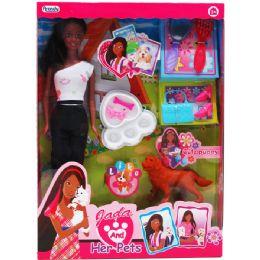 "12 Units of 11.5"" Ethnic Jada Doll W/ Pets & Accss In Window Box - Dolls"