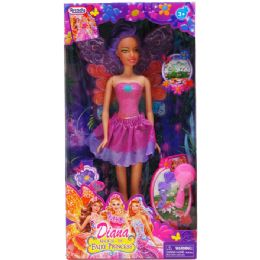 """12 Units of 11.5"""" Diana Fairy Doll With Access In Window Box 3 Assorted Color - Dolls"""
