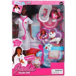 "12 Units of 11.5"" NURSE ETHNIC JADA DOLL W/ PET & ACCSS - Dolls"