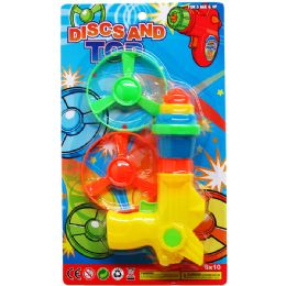 """72 Units of 2PC 3""""SAUCER SET WITH WIND-UP SHOOTER ON CARD - Summer Toys"""