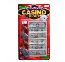 72 Units of 24 ASST BILLS & COINS CASINO NIGHT MONEY SET ON CARD - Educational Toys