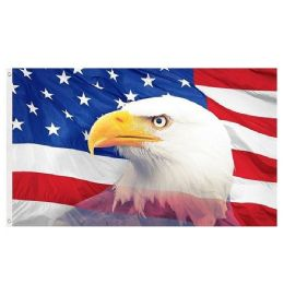 24 Units of American Flag with Eagle Head - Signs & Flags