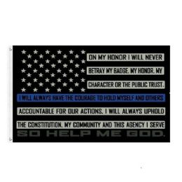 24 Units of Blue Line Oath of Honor Flag - Signs & Flags