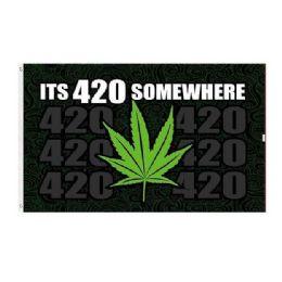 24 Units of IT'S 420 SOMEWHERE Flag Marijuana Leaf - Signs & Flags