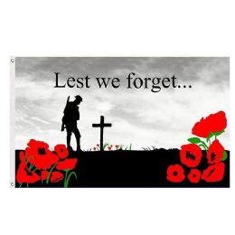 24 Units of LEST WE FORGET Poppy Remembrance Flag - Signs & Flags