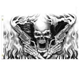 24 Units of Skull with Smoking Guns Flag - Signs & Flags
