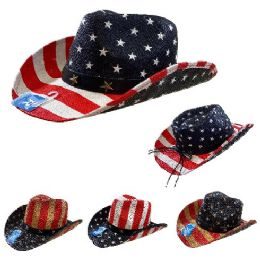 12 Units of Americana Cowboy Hat Stars and Stripes Hatband with Stars - Cowboy & Boonie Hat